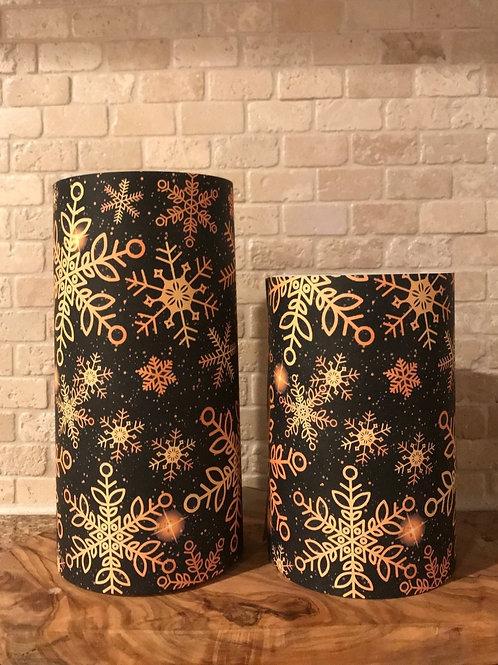 Golden Snowflakes, Set, Flameless Candle, 4x6,4x8, Keleka Designs