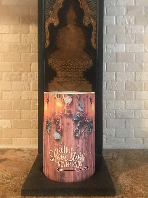 Love Story, Flameless Candle, 4x6, Keleka Designs