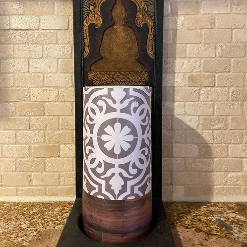 Boho Flower & Wood, Tall, Flameless Candle, 4x8, Keleka Designs
