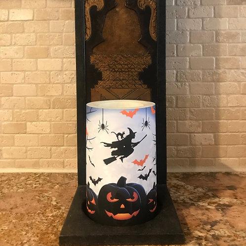 Flying into Halloween, Flameless Candle, 4x6, Keleka Designs