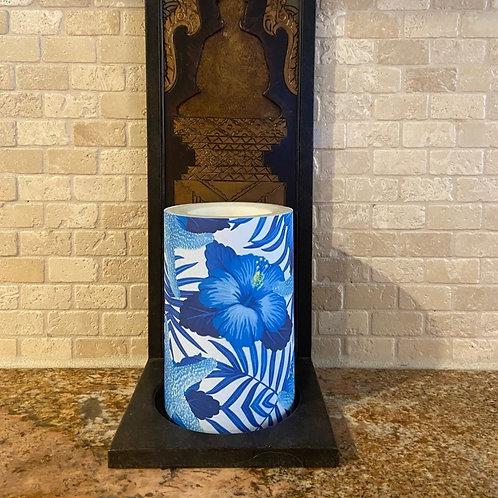 Blue Hibiscus & Starfish, Flameless Candle,  4x6, Keleka Designs