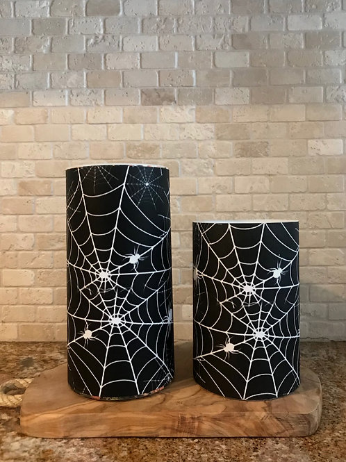 Spooky Webs, Set, Flameless Candle, 4x6, 4x8, Keleka Designs