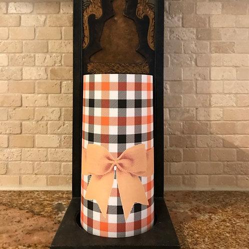 Halloween Plaid, Tall, Flameless Candle, 4x8, Keleka Designs