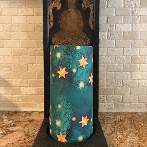 Evergreen Stars, Tall, Flameless Candle , 4x8, Keleka Designs