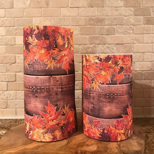 Leaves of Fall, Set, Flameless Candle, 4x6,4x8, Keleka Designs