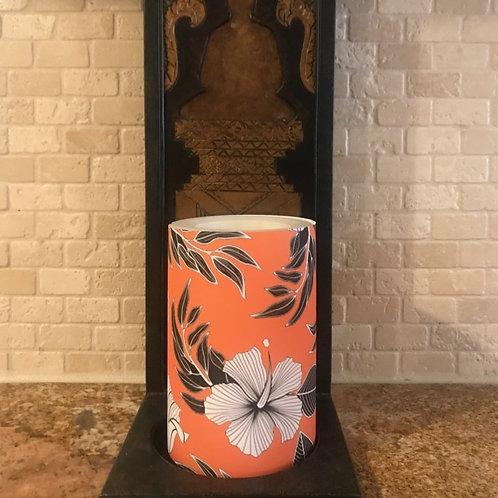 Hibiscus Kiss, Flameless Candle, 4x6, Keleka Designs