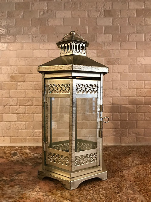 """12"""" Gold Metal Vintage Lantern"""