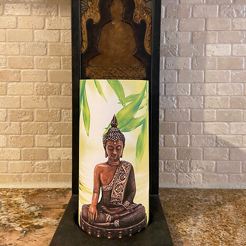 Buddha Statue, Tall,  Flameless Candle, 4x8, Keleka Designs