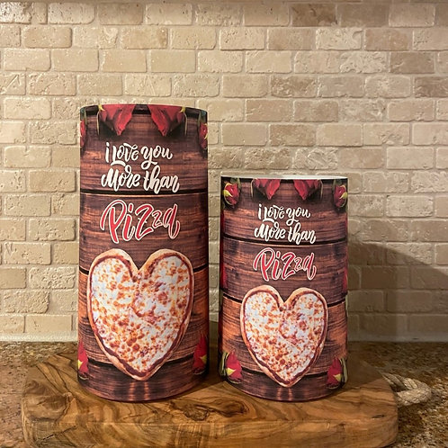 I love you more than Pizza, Set, Flameless Candle, 4x6, 4x8, Keleka Designs