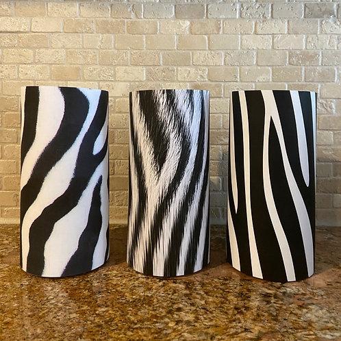 Zebra Collection, Set, Flameless Candle, 4x8, Keleka Designs