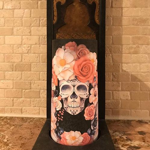 Sugar Skull Spice, Tall, Flameless Candle, 4x8, Keleka Designs