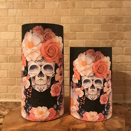 Sugar Skull Spice, Set, Flameless Candle, 4x6,4x8, Keleka Designs