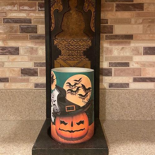 Witchy Pumpkin, Flameless Candle, 4x6, Keleka Designs
