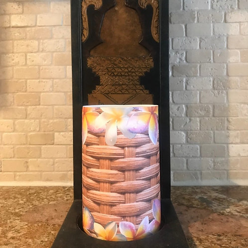 Basket of Plumerias, Flameless Candle, 4x6, Keleka Designs