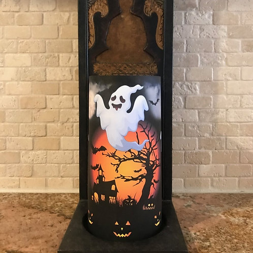 Ghosts of Halloween, Tall, Flameless Candle, 4x8, Keleka Designs