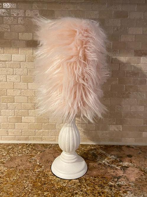 Light Pink Faux Fur, Tall, Flameless Candle, 4x8, Keleka Designs