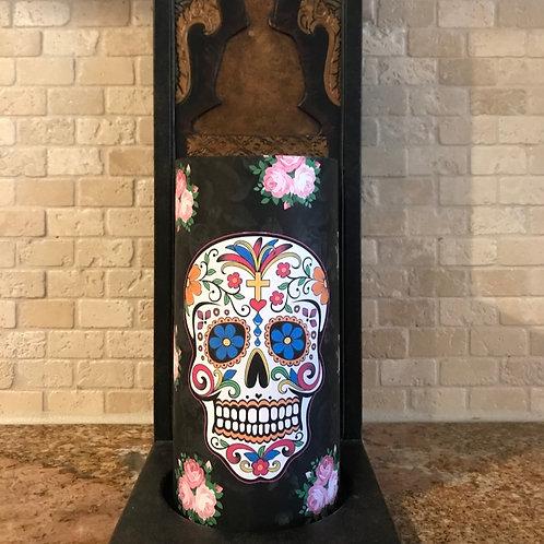 Sweet Sugar Skull, Tall,  Flameless Candle, 4x8, Keleka Designs