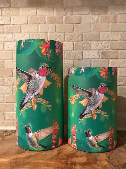 Humming Birds, Set, Flameless Candle, 4x6, 4x8 Keleka Designs