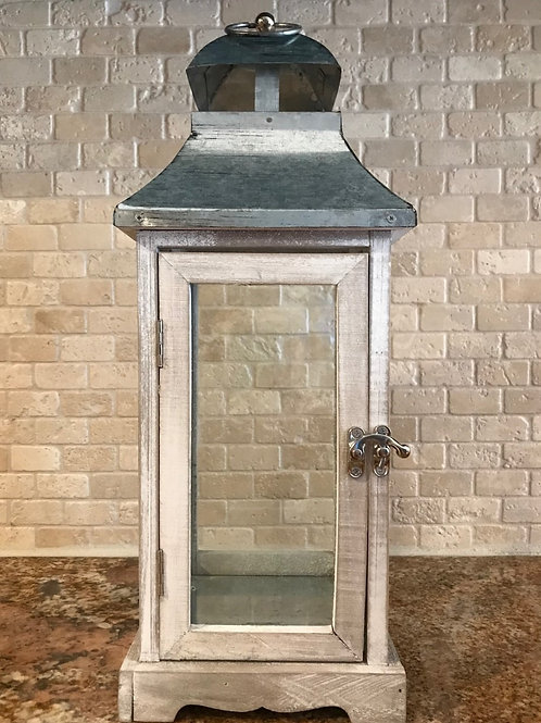 "16"" White Wooden Lantern with Galvanized Top"