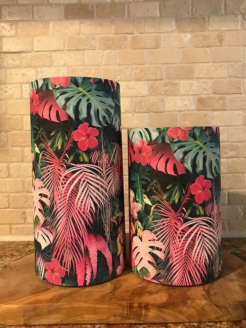 Pink Palms, Set, Flameless Candle, 4x6, 4x8, Keleka Design