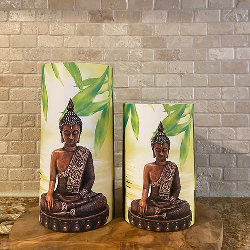 Buddha Statue, Set, Flameless Candle, 4x6, 4x8, Keleka Designs
