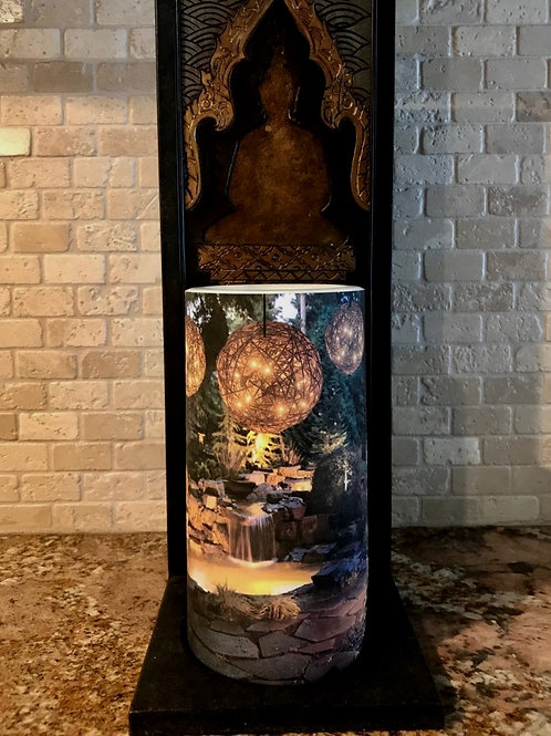 Evergreen Fall Tall,  Flameless Candle, 4x8, Keleka Designs