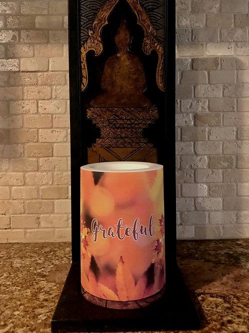 Grateful Fall,  Flameless Candle, 4x6, Keleka Designs