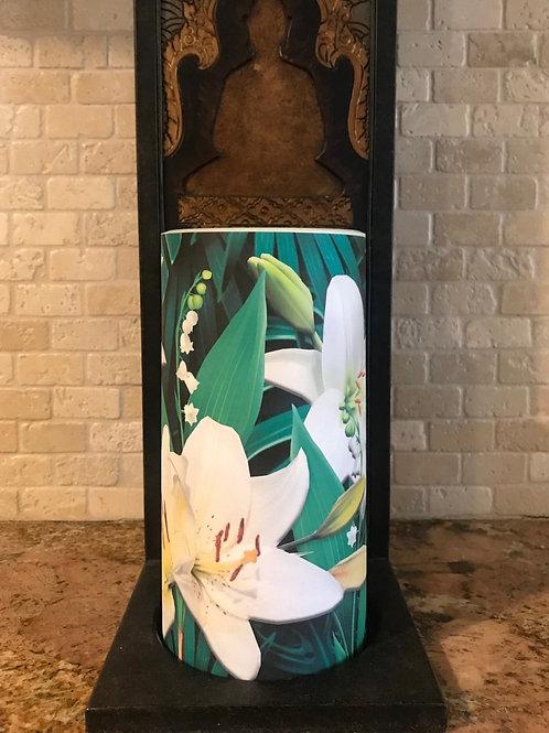 Lilies, Tall,  Flameless Candle, 4x8, Keleka Designs