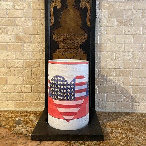 American Flag & Hearts, Flameless Candle, 4x6, Keleka Designs