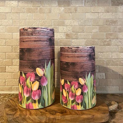 Spring Tulips, Set, Flameless Candle, 4x6, 4x8, Keleka Designs