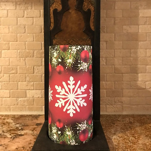 Snowflakes and Ornaments, Tall, Flameless Candle , 4x8, Keleka Designs