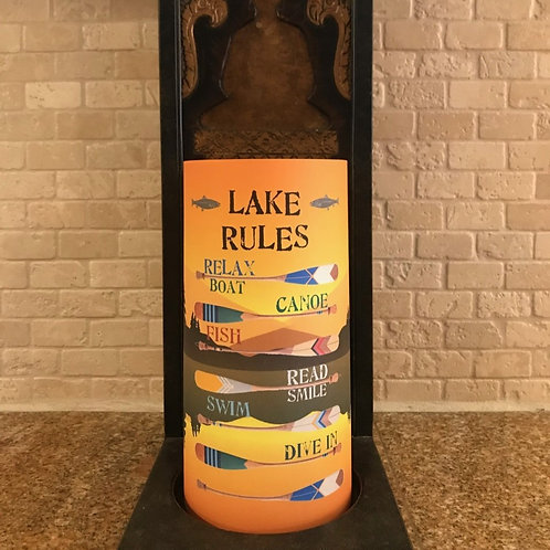 The Lake Rules, Tall, Flameless Candle, 4x8, Keleka Designs
