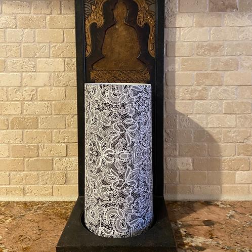 Luxury Lace, Tall, Flameless Candle, 4x8, Keleka Designs