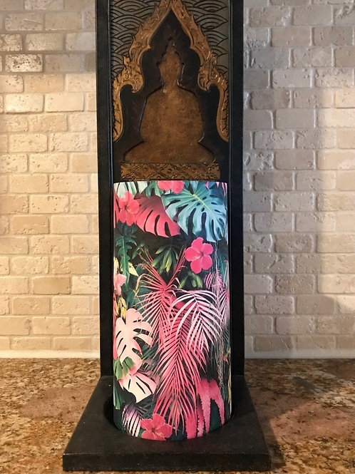 Pink Palms, Tall,  Flameless Candle, 4x8, Keleka Designs