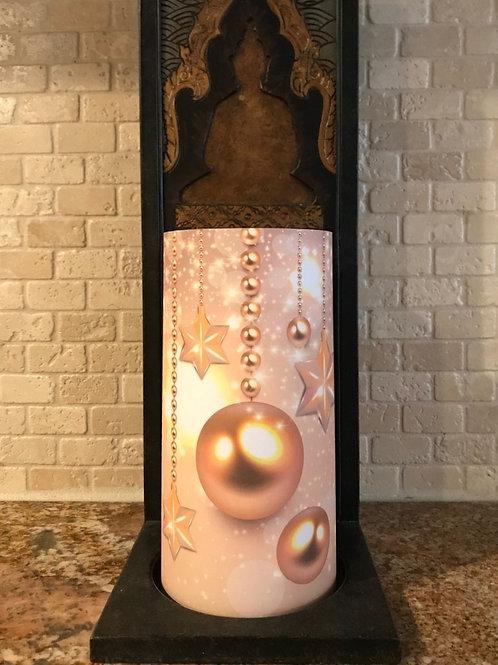 Christmas Gems, Tall, Flameless Candle, 4x8, Keleka Designs