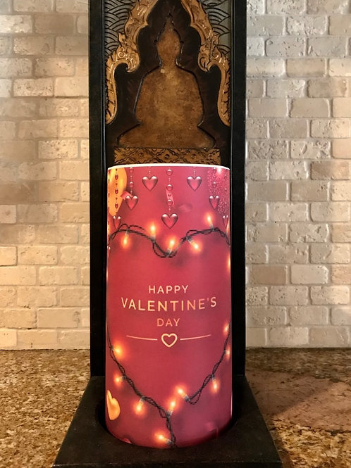 Happy Valentines Day, Tall,  Flameless Candle, 4x8, Keleka Designs