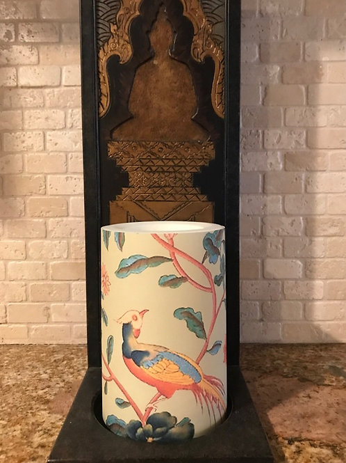 Birds Blooming, Flameless Candle, 4x6, Keleka Designs