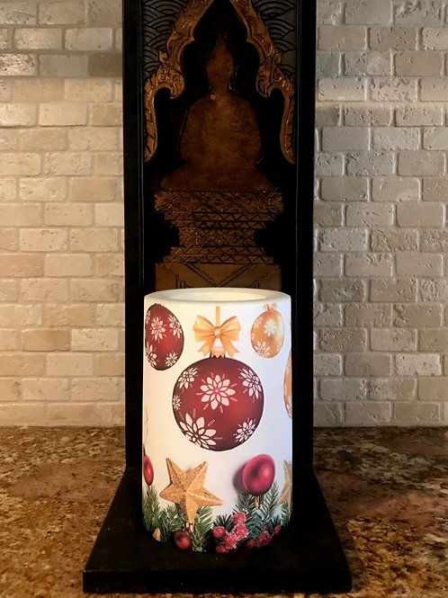 White Christmas,  Flameless Candle, 4x6, Keleka Designs