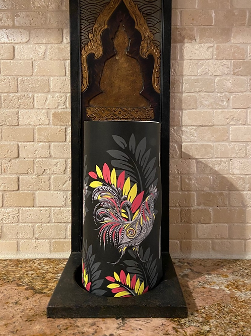 Tropical Roosters, Tall, Flameless Candle,  4x8, Keleka Designs