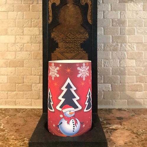 Snowman Troy,  Flameless Candle, 4x6, Keleka Designs