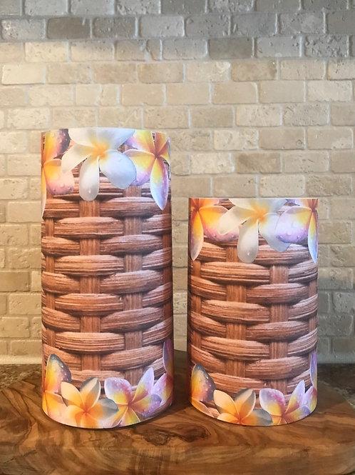 Basket of Plumerias, Set, Flameless Candle, 4x6,4x8, Keleka Designs