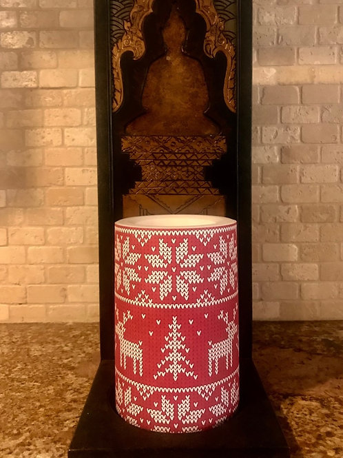 The pretty ugly sweater,  Flameless Candle, 4x6, Keleka Designs