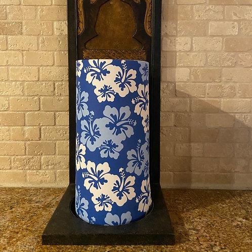 Blue & White Hibiscus, Tall, Flameless Candle, 4x8, Keleka Designs