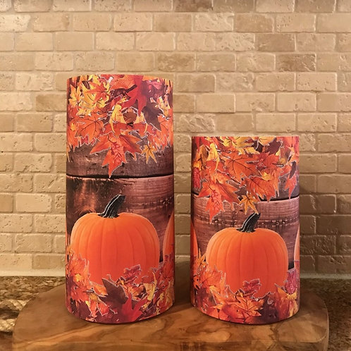 Leaves and Pumpkins, Set, Flameless Candle, 4x6,4x8, Keleka Designs