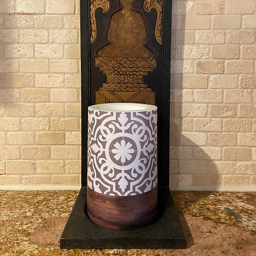 Boho Flower & Wood, Flameless Candle, 4x6, Keleka Designs