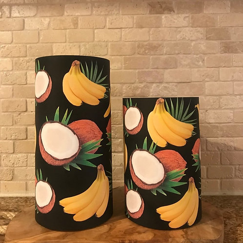 Coconuts and Bananas, Set, Flameless Candle, 4x6,4x8, Keleka Designs