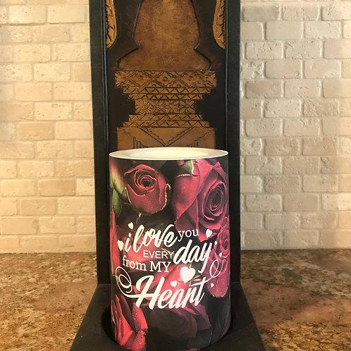 I Love You Everyday, Flameless Candle, 4x6, Keleka Designs