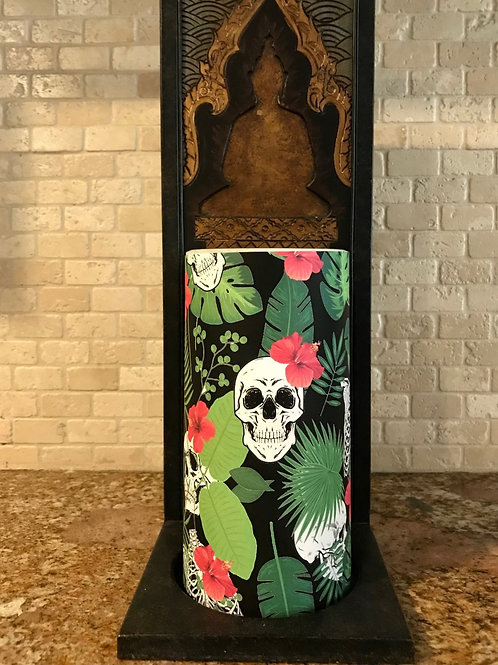 Hawaiian Halloween, Tall,  Flameless Candle, 4x8, Keleka Designs