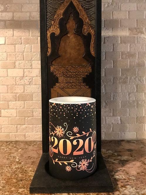 Happy New Year 2020,  Flameless Candle, 4x6, Keleka Designs