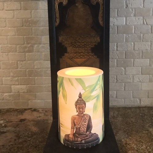 Buddha Flameless Candle, 4x6, Keleka Designs